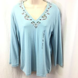 Nine West Separate Baby Blue Top XL VNeck NWT